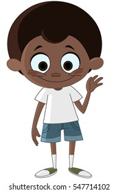 Happy black kid waving hello