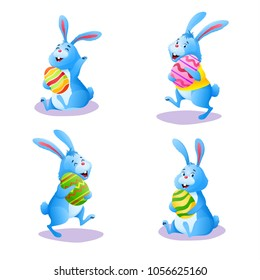 Happy blue bunny collection isolated on white background. Cute cartoon rabbit set with chocolate easter painted eggs. Decoration for greeting card banner. Easter egg hunt. Colorful vector illustration