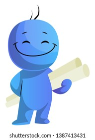 Happy blue caracter with project papers illustration vector on white background