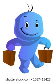 Happy blue cartoon caracter with bags illustration vector on white background