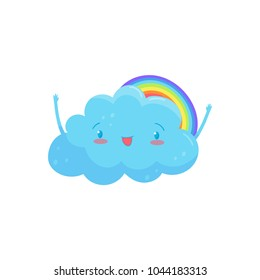 Happy blue cloud with adorable face and little hands, colorful rainbow behind him. Cartoon weather character. Flat vector for greeting card, sticker or mobile game