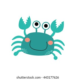 Happy blue Crab animal cartoon character isolated on white background.