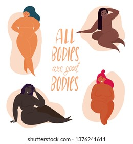 Happy body positive concept. All bodies are good bodies. Attractive overweight women. Fat acceptance, fatphobia. Curly mature half naked group in different poses. Milf aged pretty and happy females