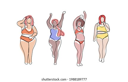Happy body positive multiethnic girls are standing in different poses. Plus size model. Love your body concept. All bodies are beautiful. Abstract trendy one line illustration