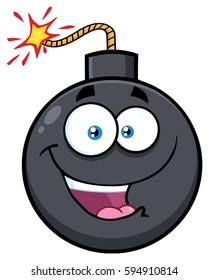 Happy Bomb Face Cartoon Mascot Character With Expressions. Vector Illustration Isolated On White Background