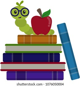 Happy Bookworm on Stack of Books Illustration - Cute happy bookworm wearing glasses next to red apple on stack of books isolated on white background
