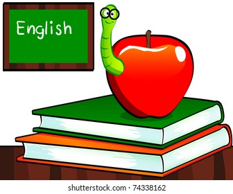A happy 'bookworm' in a shiny red apple sitting on a classroom desk