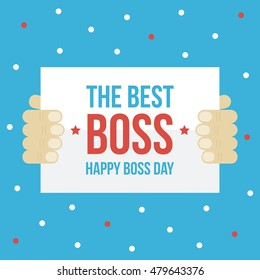 Happy boss day card, paper in man's hands flat design vector illustration.