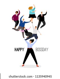 Happy boss day illustration. Energetic leader woman supports business and office employees respect vector illustration