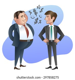 Happy boss or Manager and the employee. Vector illustration