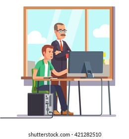 Happy boss watching over shoulder of a smiling employee at work. Tired business man. Flat style modern vector illustration.