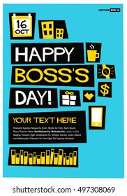happy bosss day 16 october art in flat style vector illustration poster card - Employee Anniversary Cards