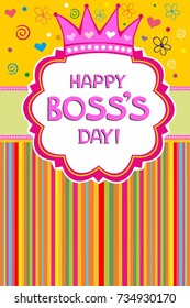 Happy Boss's day.  Celebration yellow background with pink crown and place for your text.   Vector Illustration
