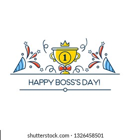 Happy Boss's day greeting card in linear style. Boss day vector illustration design with winner cup, crown and decorative elements. Vector illustration