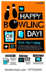 Happy Bowling Day - 8th Aug (Flat Style Vector Illustration Quote Poster Design) Event Invitation with Venue and Time Details