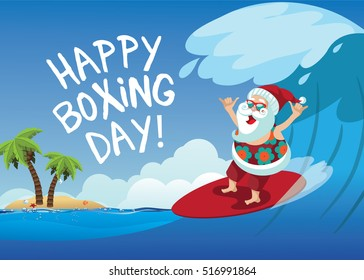 Happy Boxing Day Cartoon Santa Claus surfing a gnarly wave while giving the shaka hand sign. Background with copy space for tropical Christmas or after Christmas. EPS 10 vector.