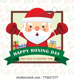 Happy Boxing Day. Cute santa claus wearing boxing gloves with gifts and ribbon. Vector illustration of boxing day.