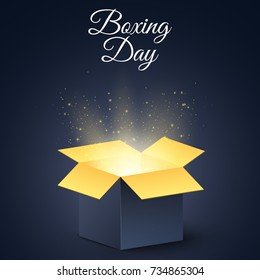 Happy boxing day. A dark, golden magic box. Christmas mysterious gift. Poster for sale. Vector illustration