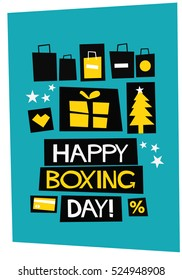 Happy Boxing Day! (Flat Style Vector Illustration Quote Poster Design)