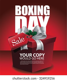 Happy Boxing Day sale background. EPS 10 vector royalty free stock illustration for greeting card, ad, promotion, poster, flier, blog, article, social media, marketing