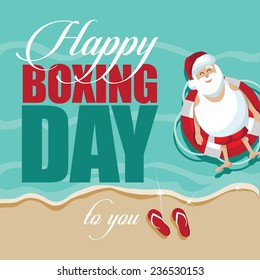 Happy Boxing day with Santa on vacation EPS 10 stock vector illustration
