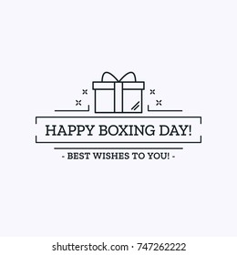 Happy Boxing Day. Vector flat Outline Illustration with present and text for card design. Template with Infographics.