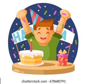 Happy boy and a birthday cake. Vector illustration