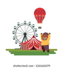 happy boy carnival ferris wheel hot air balloon