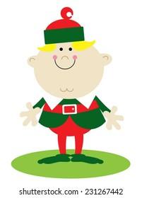 Happy boy Christmas elf dressed in green