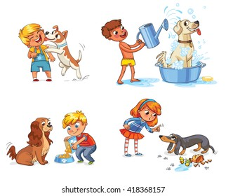 Happy boy with a dog licking her face. Labrador taking a bubble bath. Boy filling pet bowl with dry food for dog. Cocker Spaniel waiting for food. Girl scolding pet for disobedience and broken things