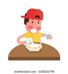 happy boy eat breakfast - Flat Design