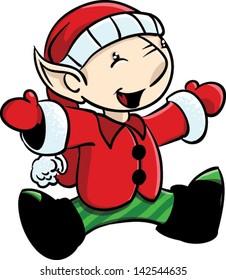 Happy boy elf sitting or jumping