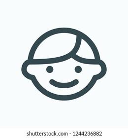 Happy boy face icon, small children head with smile vector icon
