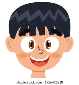Happy boy face. Little kid smiling clipart. Excited emotion. Emotional expression head close-up. Feeling concept vector illustration