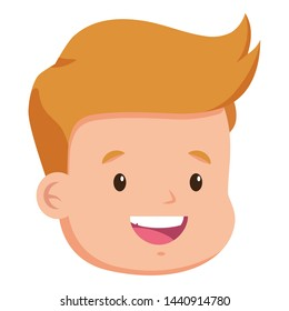 happy boy face on white background vector illustration
