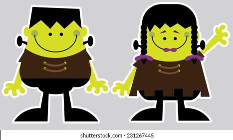 Happy boy and girl Halloween monsters