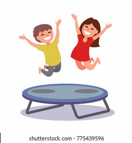Happy boy and girl jumping on the trampoline. Vector illustration