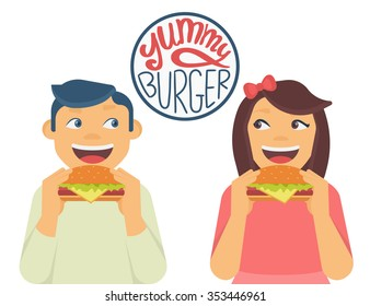 Happy boy and girl looking to each other and eating a big hamburgers. Isolated on white with handwritten letters of  yummy burger text