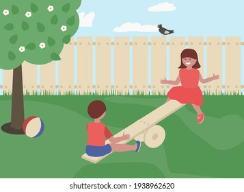 Happy boy and girl riding seesaw outdoor. Children having fun flat vector illustration.