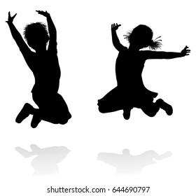 Happy boy and girl silhouette kids or children jumping