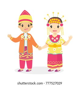 Happy boy and girl wearing South Kalimantan traditional dress and holding hands. Indonesian children, South Kalimantan traditional dress cartoon vector