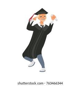 Happy boy, guy in graduation cap and gown holding diploma, showing victory sign, flat vector illustration isolated on white background. Portrait of happy blond graduating boy with diploma