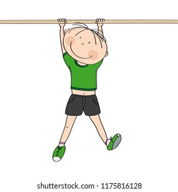 Happy boy hanging on a horizontal bar or a monkey bar in the gym or on the playground - original hand drawn illustration