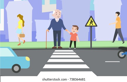 Happy boy helps grandfather cross the road. Safe life. Color vector illustration