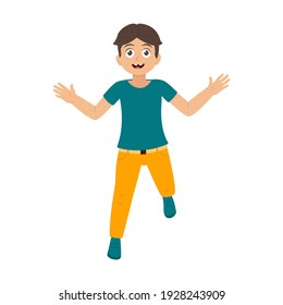 Happy boy jumping vector illustration isolated on white background