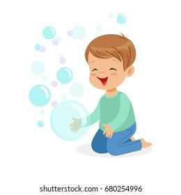 Happy boy kneeling playing bubbles vector Illustration