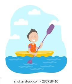 Happy boy maneuvering kayaking. Flat design. Vector illustration.