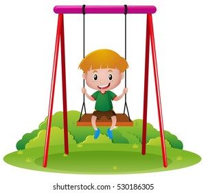 Happy boy on swing illustration