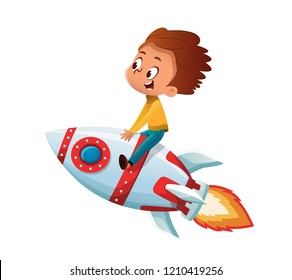 Happy Boy playing and imagine himself in space driving an toy space rocket. Vector cartoon illustration. Isolated.