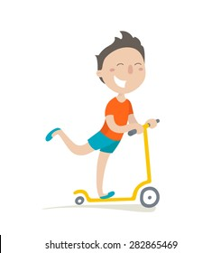 Happy boy rides on a scooter. Flat design. Vector illustration. Isolated on white background